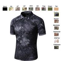 Wholesale Gray Combat Shirt - Outdoor Woodland Hunting Shooting Shirt Battle Dress Uniform Tactical BDU Army Combat Coat Quick Dry Camouflage T-Shirt SO05-108