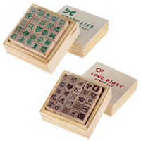 Wholesale Wooden Stamps Sets Gift - Wholesale- 25pcs set Wooden Box Lovely Diary Pattern Stamp Rubber Cute DIY Writing Scrapbooking Stamp Gift Free Shipping