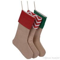 Wholesale New Designer Burlap Christmas Socks Gifts Bags Christmas Socks Xmas Bags Decoration Socks For Santa Claus cm HK004