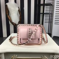 Wholesale Cowhide Leather Women Bag - The new 2016 real cowhide rivet ladies fashion luxury brand designer leisure pink aslant bag size 20 * 15 * 7 free shipping