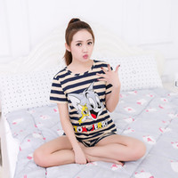 Wholesale Cute Sexy Pajamas For Women - Wholesale- Women Pajamas Sets Hot Summer Short Sleeve Thin Cotton Cartoon Print Cute Loose Sleepwear Girl pijamas Mujer Nightgown For Women