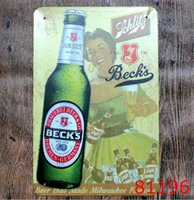 Decoración Mural Metal Baratos-Cerveza Vino Metal Pintura Tin Sign Bar Pub Casa Muro Retro Mural Cartel Decoración para el hogar Artesanía Decoración Vintage Paint Beer Room