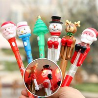 Wholesale Pen Shaped Led - Santa Claus Stationery Ballpoint Pen Christmas Led Light Ball Pen XMAS Decoration Cartoon Shaped Stationery For Children