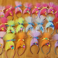 Wholesale Headband Tulle - New Trolls Tulle Hair Sticks baby princess hair accessory Children Cos Hair Accessories Girls floral headband kids Headbands colorful A863