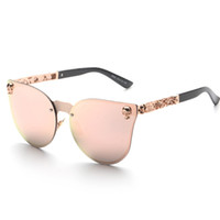 Wholesale Retro Flower Sunglasses - Wholesale-Peekaboo New brand vintage retro gothic steampunk mirror sunglasses women flower rose gold mirror metal rimless cat eye shades