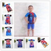 Wholesale Spiderman Swimwear - Spiderman Lightning McQueen Kids Swimwear One Piece 2017 Boys Cartoon Swimsuits Children Surfing Swimwear Summer Beachwear DHL Free