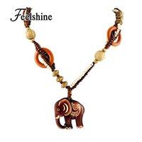 Wholesale Wood Pendant Necklace Elephant - Wholesale-Boho Ethnic Jewelry Long Hand Made Bead Wood Elephant Pendant Maxi Necklace For Women Wholesale Price