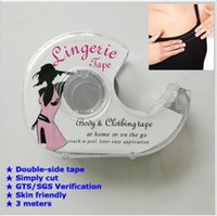 Wholesale Medical Bra - Fashion tape 3 Meters Double Sided Adhesive Safe Lingerie Tape Body Clothing Clear Bra Strip Medical Waterproof Tape V-neck