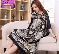 Wholesale Knee Length Floral Chiffon Dress - Cross - border for ladies summer skirt loose large size fat sister night sleep dress silk dress in the long section of home clothing