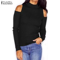 Wholesale Oversized Sweaters Wholesale - Wholesale- Sexy Knitted Sweaters Tops 2017 ZANZEA Women Vintage Turtleneck Off Shoulder Long Sleeve Knitwear Casual Pullovers Oversized