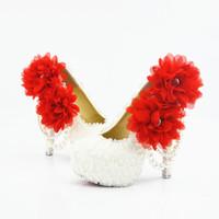 ingrosso scarpe da sposa rosse 11-Plus Size Pizzo Perle Red Flower Sexy Prom Scarpe da sera Cenerentola Scarpe fatte a mano Da sposa / Scarpe da damigella d'onore Nigh Club Party Tacchi alti 221
