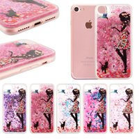 Moda Transparente Phone Case Diversión Glitter Chica Quicksand Liquid Phone Contraportada para iPhone 5S 6 6S Plus 7 7Plus