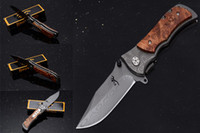 Wholesale tactical tattoo for sale - Group buy Promotion Full Lenght Inch Browning Folding Knife Stainless Steel Damascus tattoo Kageki handle Camping knife Tactical Knives B211Q