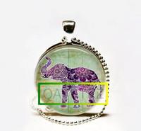 Wholesale Elephant Cabochon - Wholesale Hot Sale Lucky Elephant Necklace,Boho Jewelry,Purple Henna Bohemian Art Pendant Glass cabochon Necklace