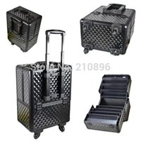 Wholesale Trolley Cosmetic Box - Wholesale- Aluminum Trolley Cosmetic Box cosmetic case with tray big space to hold cosmetics
