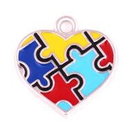material de autismo al por mayor-10pcs material de aleación de zinc material de esmalte enchapado en rodio cruz corazón en forma de cruz rompecabezas encanto de pieza autismo colgante esmalte de conciencia encanto