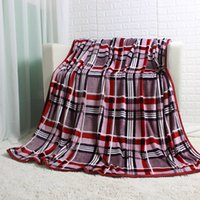 Wholesale Single Throw - Single Layer Stripe Plaid Big Flannel Fleece Blanket 200x220cm Beddging Sheet Sofa Blanket Throws for Autumn Spring Winter