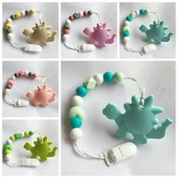 Wholesale Pacifier Beads - new 2017 silicone teether baby Pacifier clip kids baby dinosaur chewing toy infant food grade silicone teething beads pacifier holder chew