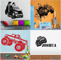 Wholesale Named Wall Stickers - Personalised Any Name Kids Monster Truck Wall Sticker Children Vinyl Decal decor sticker Free Shipping