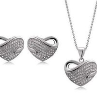 Wholesale heart shaped charms for for sale - DHL Diamond Necklace Earring Set Korea Style Charming Heart Shaped Necklace of Crystal Stud Earrings Necklace Sets for Wedding