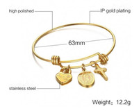 Wholesale Designs Gold Jewellery Sets - latest design vogue jewellery bangle 18k gold plated stainless steel wire bangle christian cross charm bracelet for women wholesale