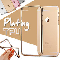 Wholesale Slim Case For Iphone 4s - Electroplating Gilded Slim Plating Case Soft TPU Clear shockproof Ultra Slim Cover For iPhone 7 Plus 6 6S SE 5S 5 4 4S Samsung S8 S7 edge
