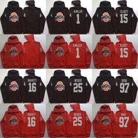 Wholesale Camp Hoodie - Men hoodies Ohio State Buckeyes 1 B.Miller 15 Elliott 16 Barrett 97 Bosa red black pullover sweatshirt college football stitched Jacket