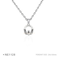 Wholesale Wholesale Irish Charms - Infinity Irish Claddagh Charms Vintage Antique Silver Pendants Chain Birthday Best Necklaces For Women Platinum Metal Gifts Jewelry