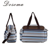 Wholesale Stripe Maternity - Wholesale-Fashion Stripe Mom Care Big Capacity Nappy Changing Bags For Mummy Waterproof Baby Diaper Bag Maternity Stroller Organizer Bag