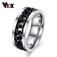 Vnox Spinner Black Chain Ring para hombre Punk Titanium Steel Metal Finger Jewelry