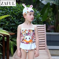 Wholesale Toddler Swimming Costume Girls - ZAFUL Girls Swimwear RabbitFlower One Piece Children Swimsuit For Toddler Girl Swimming Costume moda praia infantil With Hat