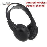 Wholesale Wireless Headphones Ir - Wholesale-Hot Sale Infrared Stereo Double-channel Foldable Wireless Headphone Headset IR Car Headrest DVD Player Clear Sound