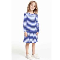 Wholesale Pettiskirts For Girls - Long Sleeved Sailor's Striped Dress for Children Clothes Girl Dress One-Pieces Pettiskirts Princess Baby Girl Jumpers Blue Tops