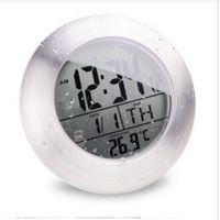 Wholesale Silent Digital Clock - Wholesale-Waterproof Shower Silent Digital Clocks Bathroom Kitchen Wall Suction Cup Clock Watch Modern Fashion Temperature & Date Design