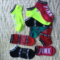 Wholesale Pink Hosiery - Pink Letter Socks Pink Anklet Sports Hosiery Cotton Fashion Short Socks Slipper Girl Sexy Love Pink Ship Socks Summer Underwear D554