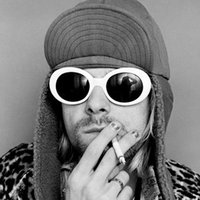 Wholesale Wholesale Shades Round Lens - NIRVANA Kurt Cobain's '90s-Style White Oval Sunglasses Men Women Retro vintage-inspired Alien Shades Thick Frame Glasses
