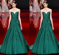 Wholesale Elie Saab Sweetheart Sash - 2016 A line Elie Saab Red Carpet Green Evening Dresses Backless Jewel Satin Sweep Train Formal Party Prom Dresses Custom Made for Women