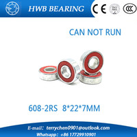 Wholesale Bears Board - Wholesale- Free shipping 10pcs Skate board bearing 608-2RS 608RS 608 8x22x7mm red rubber closures 8*22*7mm for hand spinner