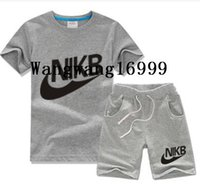Wholesale Track Suit Casual Shirts - kids sport suit children clothing set baby boys t shirt short sleeve+shorts pant 2017 summer casual brand new cotton track suit