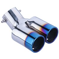 Wholesale Exhaust Pipe Decoration - General Double row car silencer stainless steel Tail throat decoration grilled blue Tail throat stainless steel exhaust pipe