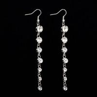 Wholesale Clip Earrings Star - Star style rhinestone tassel long drop earrings clip-on no pierced women gift earrings free shipping #E086
