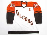 Barato personalizado BOWLING GREEN FALCONS POWERS # 95 WHITE CCM HOCKEY JERSEY White Throwback jerseys