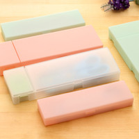 Wholesale Kids Plastic Pencil Boxes - Wholesale- Cute Kawaii Transparent PP Plastic Pencil Case Lovely Pen Box For Kids Gift Office School Supplies stationery Materials