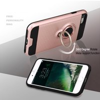 Wholesale Hot Pink Silver Ring - 2017 new hot For iphone 8 Case Metalic Silicon Hybrid Ring Cover Cover For iphone 6 7 plus Galaxy S8 note 8 LG K8  K10 ect