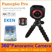 """Wholesale Degree Super Wide Angle - EKEN Pano360 pro 360 Degree panoramic 4K VR camera Wifi 1"""" LCD 2*220 Degree Super wide angle Sports Action DV + Remote Control Free shipping"""