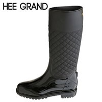 Wholesale Platform Rubber Rain Shoes - Wholesale-HEE GRAND Rain Boots Rubber Platform Shoes Woman 2016 Knee-High Women Boots Casual Creepers Slip On Flats Women Shoes XWD4579