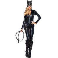 Wholesale Sexy Adult Jumpsuit - halloween Costumes Adult Women Deluxe black Leather Rider Motorcycle jumpsuit Catsuit Lady sexy Catwoman Costume Catsuit Jumpsuit With Hat