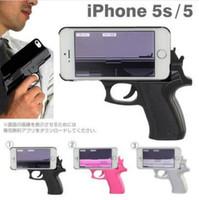 Wholesale wholesale gun cases - Funny Mobile Pistol Gun Shape Case Unlimited Triggering External Protective Case For Iphone 4 5 5C 6 6plus 7 7plus