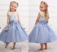 Wholesale Little Princess Dresses Free Shipping - Free Shipping New Real Princess White Top Blue Flower Girl Dresses Tea Length Tulle Infant Little Girl Birthday Party Dresses HY1268