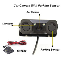 Wholesale Video Camera Chip - Car Camera with sensor PZ451 1 3CMOS High-definition image chip 2 in 1 video parking sensor IP67 waterproof lens HD rearview DC12V post